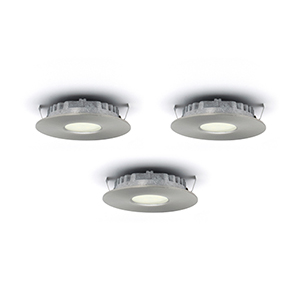 Superpuck Satin Nickel LED Under Cabinet Recessed Puck Light Kit (Set of 3)