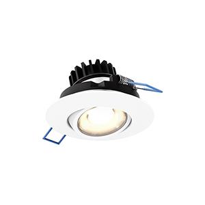White Three-Inch LED Round Gimbal Recessed Light