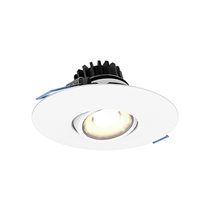 White Four-Inch LED Round Gimbal Recessed Light