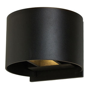 Black 7W Round LED Outdoor Wall Sconce
