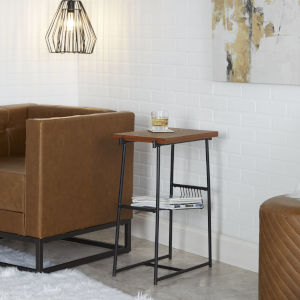 Austin Flat Black and Walnut Accent Table with Wire Magazine Rack