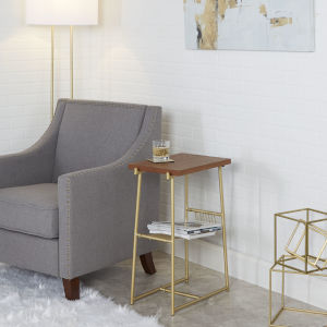 Austin Gold and Walnut Accent Table with Wire Magazine Rack