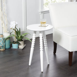Adah White Round Accent Table