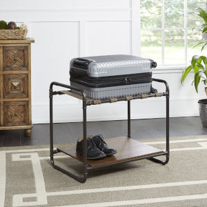 Acacius Distressed Brown and Gunmetal Luggage Rack