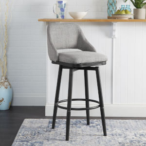 Diego Grey and Gunmetal Upholstered Adjustable Barstool