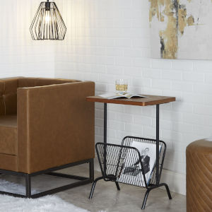Alva Flat Black and Walnut Accent Table with Magazine Rack