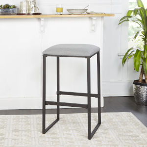 Tate Grey and Gunmetal Square Backless Bar Stool