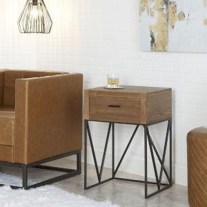 Ellis Espresso and Gunmetal One-Drawer End Table