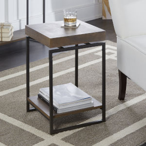 Phoenix Light Graphite and Gunmetal Floating Top Accent Table