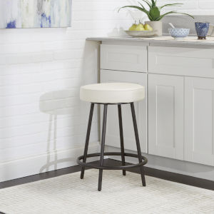 Mika White and Black 24-Inch Upholstered Round Backless Barstool