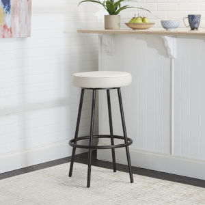 Mika White and Black 29-Inch Upholstered Round Backless Barstool