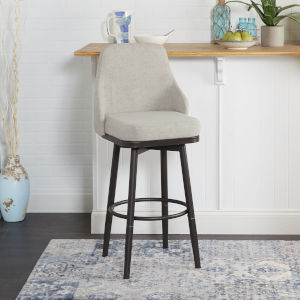 Shea Grey and Gunmetal Upholstered Curved Back Bar Stool