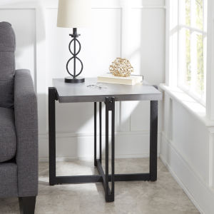 Emma Black and Grey Square End Table