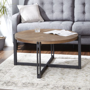 Emma Pine and Black Round Coffee Table