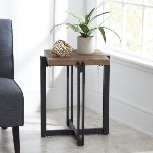 Emma Pine and Black Square Accent Table