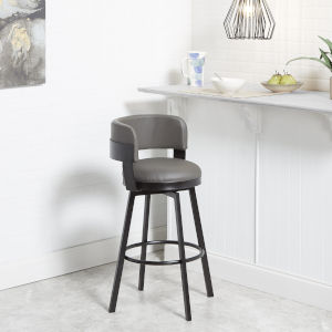 William Charcoal and Dark Rubbed Bronze Upholstered Swivel Barstool