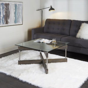 Oliver Textured Dark Brown and Silver X-Frame Square Coffee Table