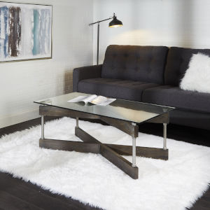 Oliver Textured Dark Brown and Silver X-Frame Coffee Table