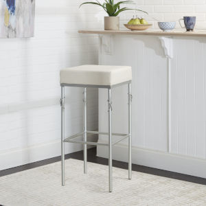 Harper Silver and White Upholstered Square Backless Barstool