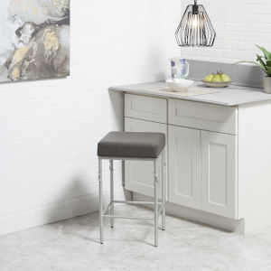 Harper Charcoal and Silver 24-Inch Upholstered Square Backless Barstool