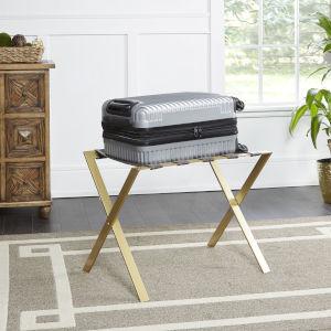 Elijah Dark Brown and Gold X-Frame Luggage Rack