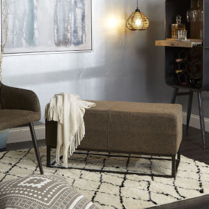 Logan Distressed Brown and Black Upholstered Bench