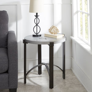 Saint Grey and Gunmetal Round End Table