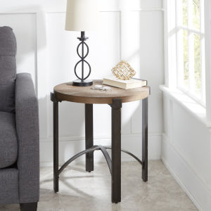 Saint Pine and Gunmetal Round End Table