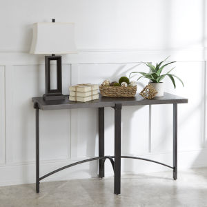 Saint Brass and Gunmetal Console Table