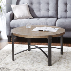 Saint Pine and Gunmetal Round Coffee Table