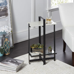 Amelia Faux Marble and Flat Black Accent Table with Faux Marble