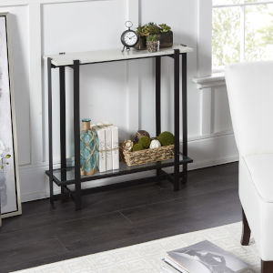 Amelia Faux Marble and Flat Black Console Table