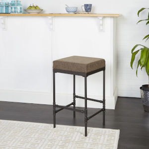 Watson Distressed Brown and Gunmetal 24-Inch Upholstered Barstool