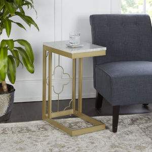 Charlotte Gold and Faux Marble C-Table