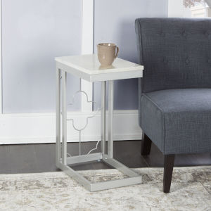 Charlotte Silver and Faux Marble C-Table