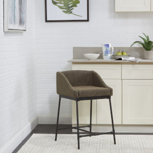 Mia Distressed Brown and Textured Black Square Stool