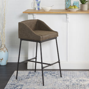 Mia Distressed Brown and Textured Black Square Bar Stool