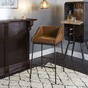 Mia Cognac and Black Square Bar Stool
