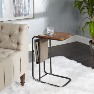 Jaxtyn Distressed Brown C Table with Sling Magazine Holder