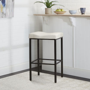 Karsyn White and Black Backless Saddle Stool