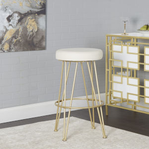 Dilan White and Gold Upholstered Backless Bar Stool