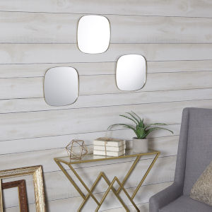 Gold Rounded Mirrors, Set of Three