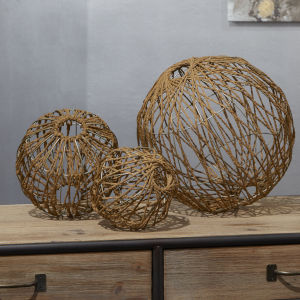 Silver and Antic Brown 12-Inch Rope Spheres, Set of Three