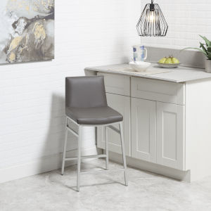 Charcoal and Silver Upholstered Square Barstool