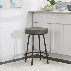 Charcoal and Gunmetal Upholstered Round Backless Barstool