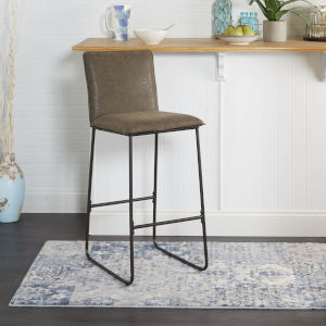 Distressed Brown and Black Square Back Barstool