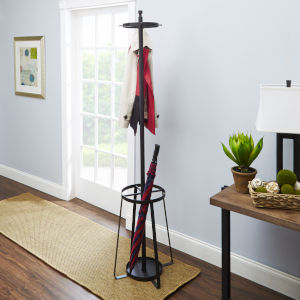 Gunmetal Steel Coat Rack with Umbrella Stand