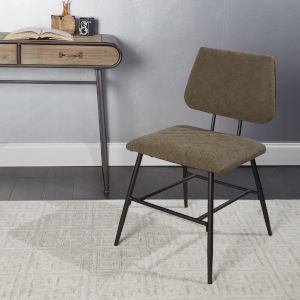 Brown and Textured Gunmetal Dining Chair