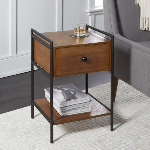 Chestnut and Textured Black Bedside Table with Drawer