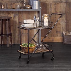 Black and Brown Asymmetrical Frame Bar Cart